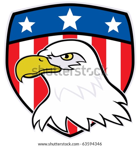 Illustration of an American Eagle's head with shield with stars and stripes