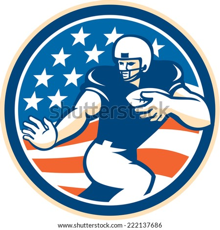 Illustration of an american football gridiron player running back with ball fending facing front set inside circle with american stars and stripes in the background done in retro style.