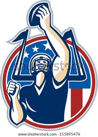 Illustration of an american football gridiron quarterback player holding up ball facing front set inside circle with stars and stripes flag done in retro style.