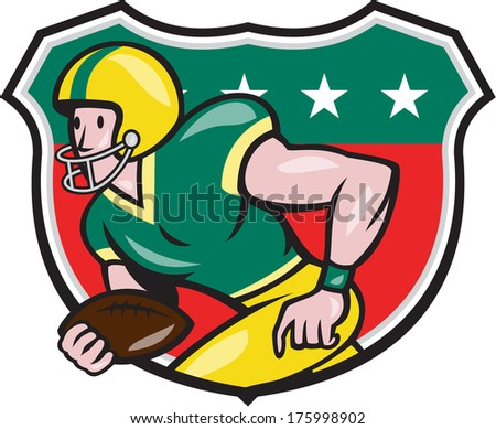 Illustration of an american football gridiron wide receiver running back player running with ball facing side set inside shield with stars in background done in cartoon style.
