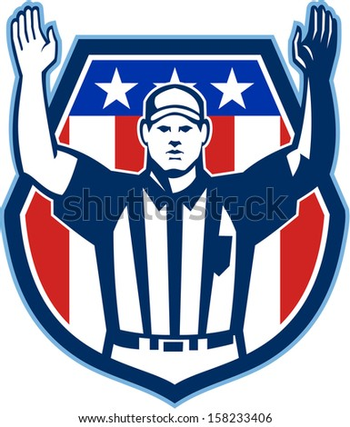 Illustration of an american football official referee with hand pointing up for a touchdown facing front set inside crest shield with stars and stripes flag done in retro style. - stock photo