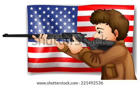 Illustration of an American hunter - stock photo