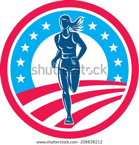 Illustration of an american marathon triathlete runner running winning finishing race set inside circle with stars and stripes in the background done in retro style. - stock photo