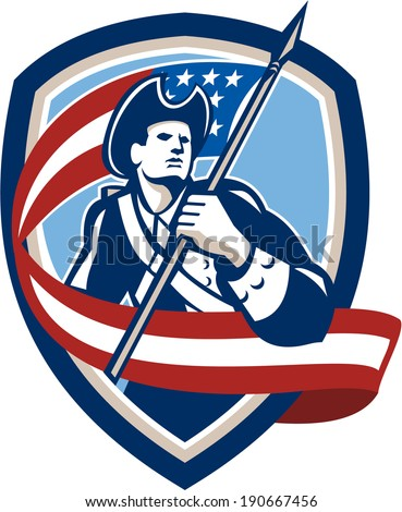 Illustration of an American Patriot revolutionary soldier waving USA stars and stripes flag looking to side set inside shield crest shape done in retro style
