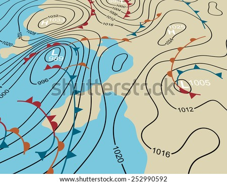 Illustration of an angled generic weather system map - stock photo
