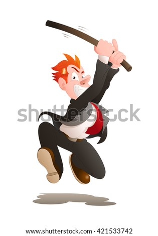 illustration of an angry a businessman hold stick try to hit on isolated white background - stock photo