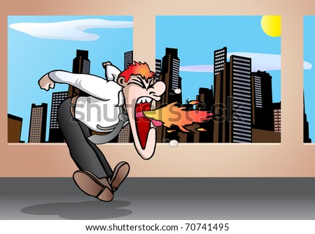 illustration of an angry businessman shout for quiet on city background - stock photo