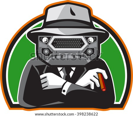 Illustration of an angry mobster with car grille grill face wearing hat , tie and suit arms folded facing front set inside half circle done in retro style.  - stock photo