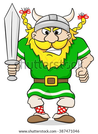illustration of an angry viking with sword - stock photo