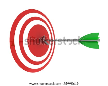 Illustration of an arrow hitting the centre of a glossy target. Isolated on white.