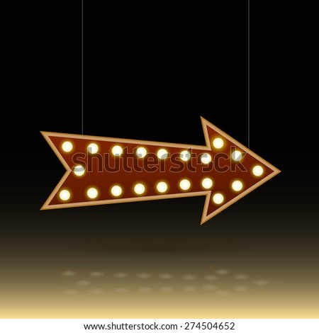 Illustration of an arrow sign with lightbulbs against a dark background. - stock photo