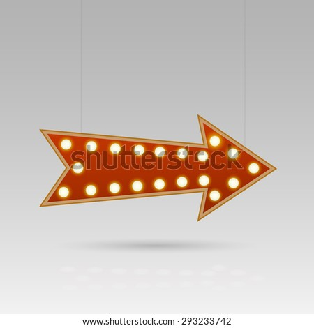 Illustration of an arrow sign with lightbulbs against a gray background. - stock photo