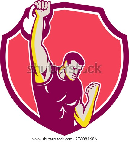 Illustration of an athlete performing a kettlebell one-arm high pull facing front set inside crest done in retro style. - stock photo