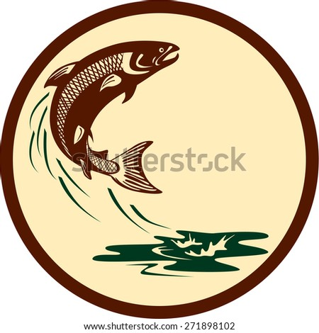 Illustration of an Atlantic salmon fish jumping in water set inside circle viewed from the side on isolated background done in retro style.  - stock photo