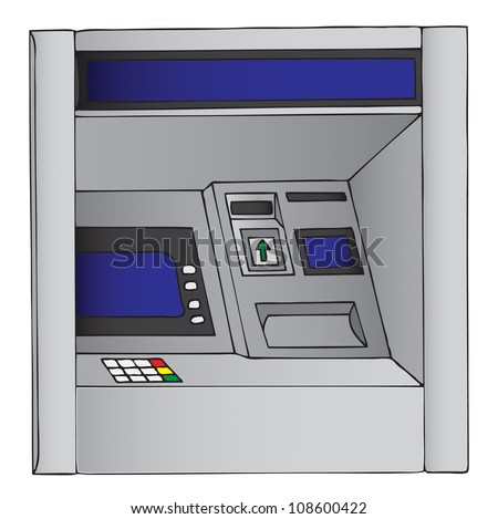 Illustration of an ATM, cash machine - stock photo