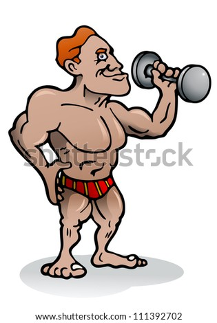 illustration of an body builder person in isolated background - stock photo