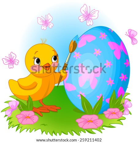 Illustration of an Easter Chicken is painting an egg - stock photo