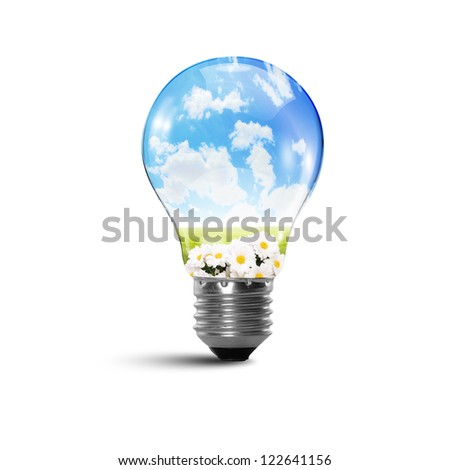 Illustration of an electric light bulb with clean and safe nature inside it Conceptual illustration - stock photo
