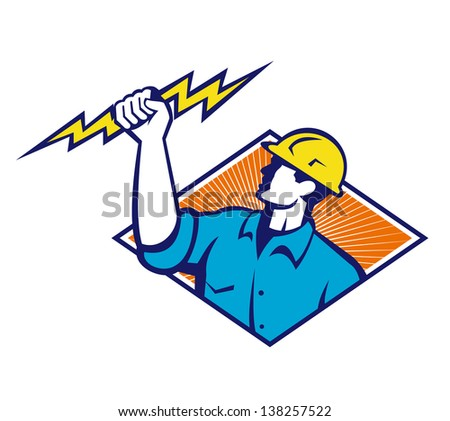 Illustration of an electrician construction worker holding a lightning bolt set inside diamond shape done in retro style in isolated white background.