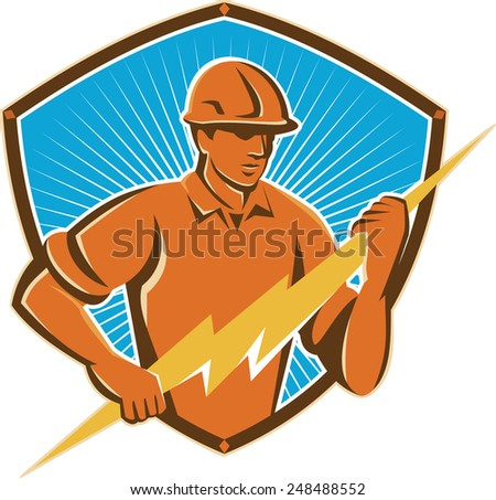 Illustration of an electrician construction worker holding a lightning bolt set inside shield crest done in retro style - stock photo