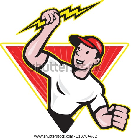 Illustration of an electrician construction worker holding a lightning bolt set inside triangle done in cartoon style in isolated white background.