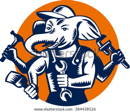 Illustration of an elephant builder plumber mechanic repairman with 4 hands holding hammer wrench spanner and brush set inside circle done in retro woodcut style. - stock photo
