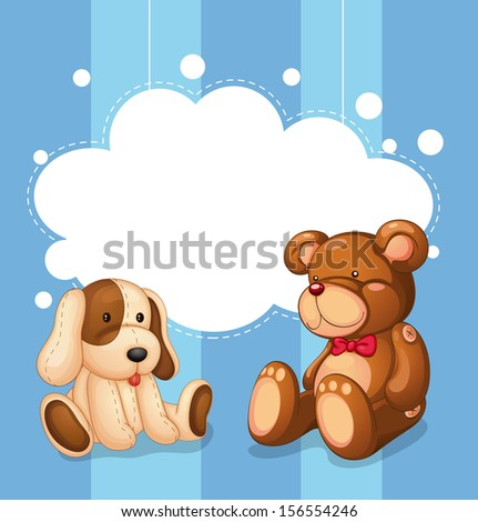 Illustration of an empty cloud template with stuffed toys - stock photo