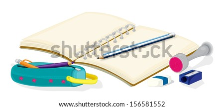 Illustration of an empty notebook, pencils, a pencil case, an eraser and a sharpener on a white background  - stock photo