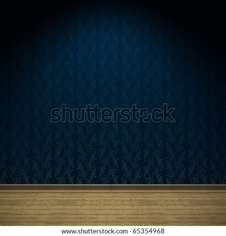 Illustration of an empty room with ancient blue satin wallpaper