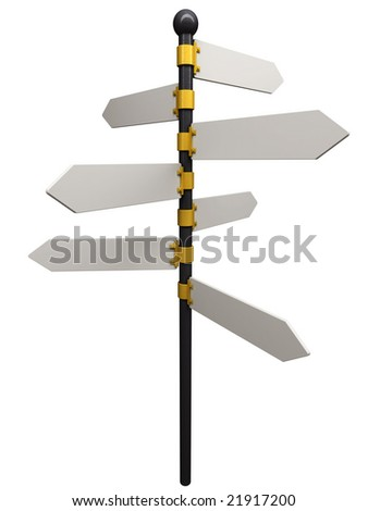 Illustration of an empty signpost isolated on white. - stock photo