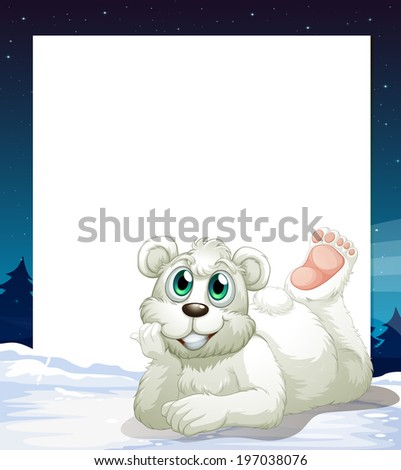 Illustration of an empty template with a smiling polar bear at the bottom - stock photo