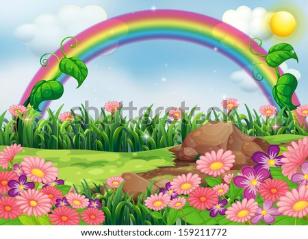 Illustration of an enchanting garden with a rainbow - stock photo