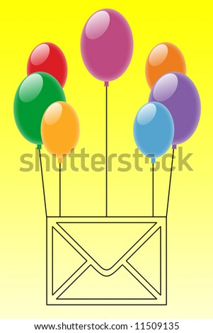 Illustration of an envelope with floating balloons