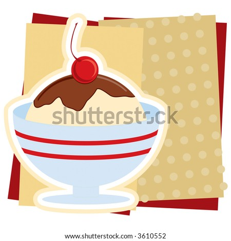 Illustration of an ice cream Sundae sign, without text. - stock photo