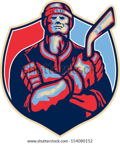 Illustration of an ice hockey player holding stick with arms crossed facing front done in retro style.
