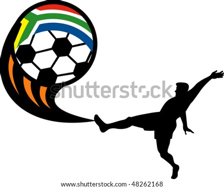 illustration of an icon for 2010 soccer world cup with player kicking ball with flag of republic of south africa - stock photo