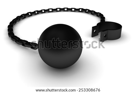 Illustration of an iron ball and chain - stock photo