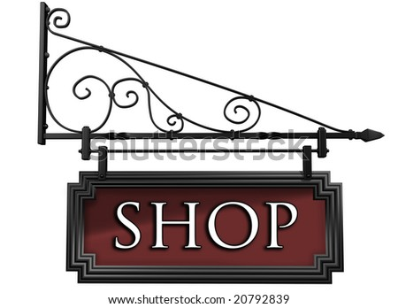 Illustration of an isolated antique style shop sign