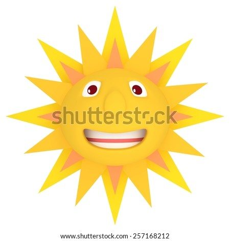 Illustration of an isolated sun with smiling face - stock photo