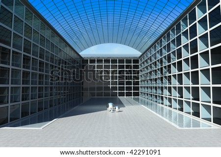 Illustration of an office building with water canals on inside square
