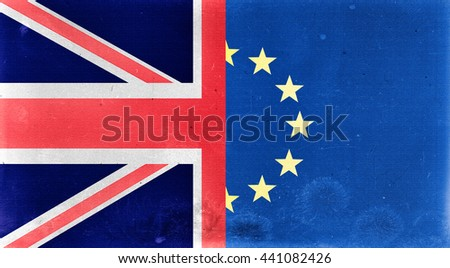Illustration of an old and dirty United Kingdom and Europe flags. Brexit referendum. - stock photo