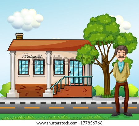 Illustration of an old businessman standing in front of the restaurant - stock photo
