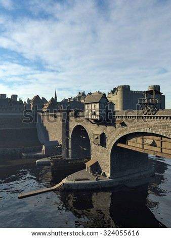 Illustration of an old European Medieval bridge with gatehouse and half-timbered buildings, leading across a quiet river to the old town and castle, 3d digitally rendered illustration - stock photo