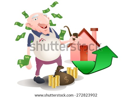 illustration of an old man investment on property over white background - stock photo