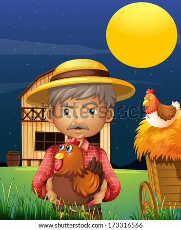 Illustration of an old man with his farm animals standing in front of the barnhouse - stock photo