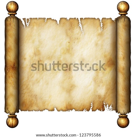 Illustration of an old scroll. - stock photo