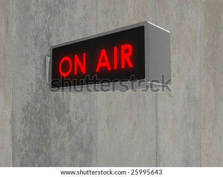 Illustration of an 'On Air' sign, with illuminated red text. Sign is mounted on a concrete wall . - stock photo