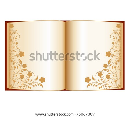 illustration of an open book with floral decoration isolated on a white background