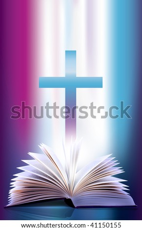 Illustration of an open flicking bible pages  and cross - stock photo