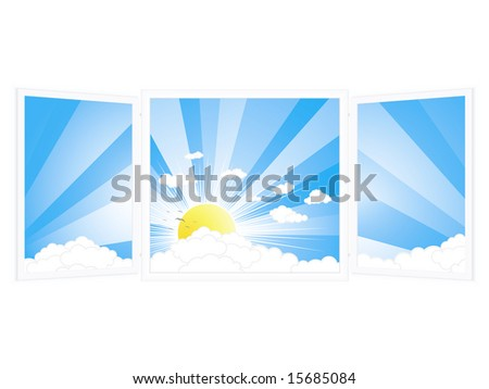 Illustration of an open window with a beautiful sunny day view.